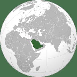 Localização geográfica da Arábia Saudita