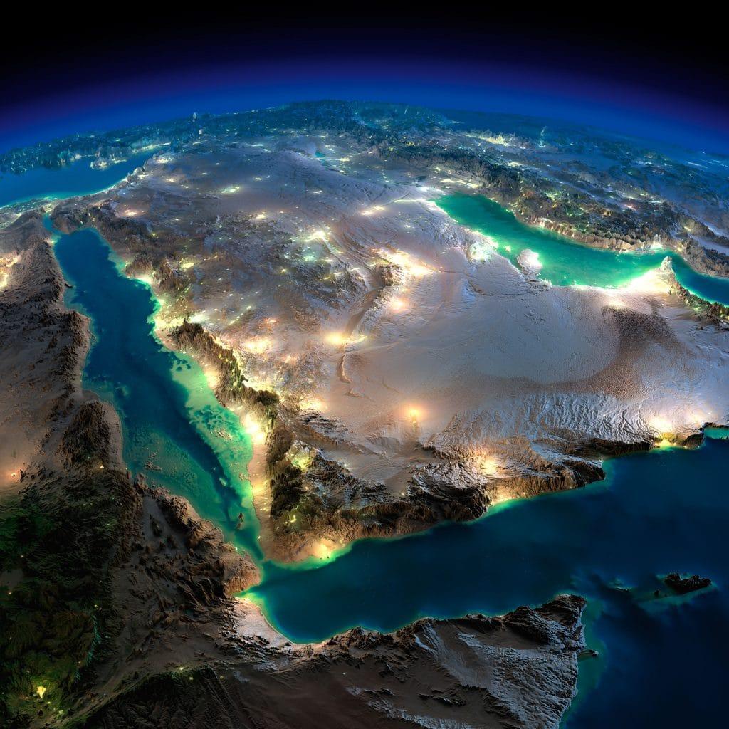 Imagem satélite da Arábia Saudita